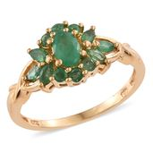Kagem Zambian Emerald 14K YG Over Sterling Silver Cluster Ring (Size 9.0) TGW 1.06 cts.