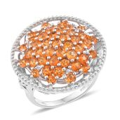 Salamanca Fire Opal, Cambodian Zircon Platinum Over Sterling Silver Cluster Cocktail Ring (Size 6.0) TGW 3.08 cts.