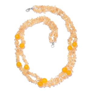 Brazilian Citrine, Yellow Quartzite Sterling Silver Double Strand Necklace (20 in) TGW 270.00 cts.