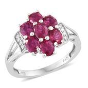 Niassa Ruby, Cambodian Zircon Platinum Over Sterling Silver Ring (Size 10.0) TGW 3.40 cts.