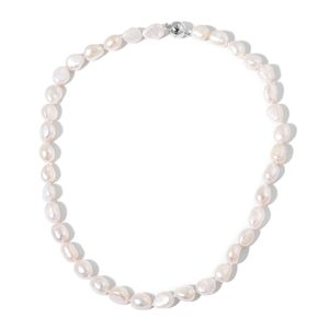 Freshwater Pearl Silvertone Row Necklace (18 in)