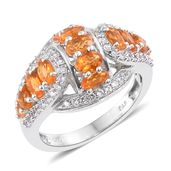 Salamanca Fire Opal, Cambodian Zircon Platinum Over Sterling Silver Ring (Size 7.0) TGW 2.40 cts.