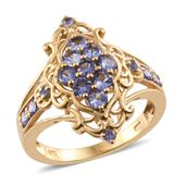 Tanzanite 14K YG Over Sterling Silver Ring (Size 10.0) TGW 1.51 cts.