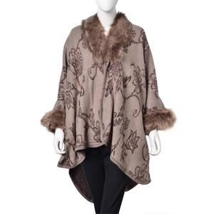Brown and Beige 100% Acrylic Floral Pattern Faux Fur Trimmed Kimono (One Size)