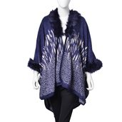 Navy and White 100% Acrylic Animal Pattern Faux Fur Trimmed Kimono (One Size)