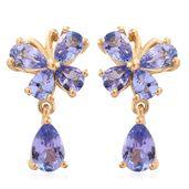 Tanzanite 14K YG Over Sterling Silver Butterfly Drop Stud Earrings TGW 2.18 cts.