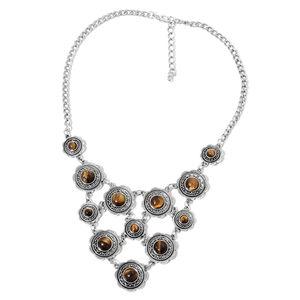 South African Tigers Eye Black Oxidized Silvertone Bib Necklace (18 in) TGW 100.00 cts.