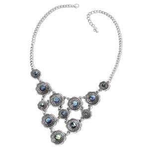 Abalone Shell Black Oxidized Silvertone Necklace (18 in)