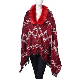 Wine 100% Acrylic Diamond Pattern Faux Fur Collar Gypsy Poncho (25.59x76.77 in)