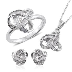 Diamond Platinum Over Sterling Silver Knotted Earrings, Ring (Size 7) and Pendant With Chain (20 in) TDiaWt 0.90 cts, TGW 0.90 cts.