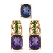Color Change Fluorite, Russian Diopside 14K YG Over Sterling Silver Earrings TGW 5.01 cts.