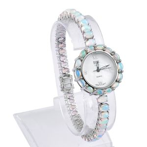 EON 1962 Ethiopian Welo Opal Genuine Swiss Japanese Movement Sterling Silver Bracelet Watch (7.50 in) TGW 15.00 cts.