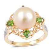 South Sea Golden Pearl (11-12 mm), Russian Diopside, White Zircon 14K YG Over Sterling Silver Ring (Size 9.0) TGW 1.03 cts.