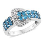 Dan's Jewelry Selections Malgache Neon Apatite, Cambodian Zircon Platinum Over Sterling Silver Buckle Ring (Size 5.0) TGW 1.63 cts.