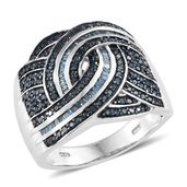 Dan's Jewelry Selections Blue Diamond (IR) Blue Rhodium & Platinum Over Sterling Silver Criss Cross Ring (Size 10.0) TDiaWt 1.03 cts, TGW 1.03 cts.