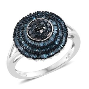 Blue Diamond (IR) Blue Rhodium & Platinum Over Sterling Silver Ring (Size 10.0) TDiaWt 1.00 cts, TGW 1.00 cts.