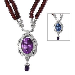 Color Change Fluorite, Amethyst, Mozambique Garnet Platinum Over Sterling Silver Double Strand Bead Necklace (18 in) TGW 111.15 cts.