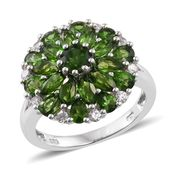 Dan's Jewelry Selections Russian Diopside, Cambodian Zircon Platinum Over Sterling Silver Ring (Size 5.0) TGW 4.55 cts.