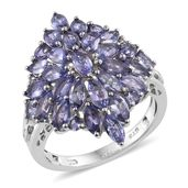 Tanzanite, Cambodian Zircon Platinum Over Sterling Silver Marquise Cluster Ring (Size 7.0) TGW 4.29 cts.