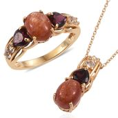 Sri Lankan Sunstone, Orissa Rhodolite Garnet, White Topaz 14K YG Over Sterling Silver Ring (Size 6) and Pendant With Chain (20 in) TGW 6.68 cts.