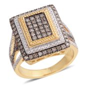 Natural Champagne Diamond (IR), Diamond 14K YG Over Sterling Silver Ring (Size 6.0) TDiaWt 0.99 cts, TGW 0.99 cts.