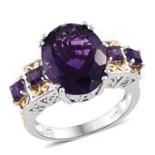 Kevin's Presidential Deal Lusaka Amethyst 14K YG and Platinum Over Sterling Silver Ring (Size 6.0) TGW 9.30 cts.
