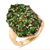 Dan's Jewelry Selections Russian Diopside 14K YG Over Sterling Silver Cluster Ring (Size 5.0) TGW 6.02 cts.