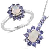 Kevin's Presidential Deal Ethiopian Welo Opal, Tanzanite Platinum Over Sterling Silver Ring (Size 5) and Pendant With Chain (20 in) TGW 2.42 cts.