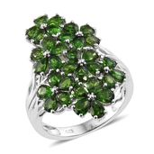 Russian Diopside Platinum Over Sterling Silver Cluster Floral Ring (Size 7.0) TGW 6.75 cts.