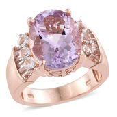 Dan's Jewelry Selections Rose De France Amethyst, White Topaz 14K RG Over Sterling Silver Ring (Size 7.0) TGW 8.74 cts.