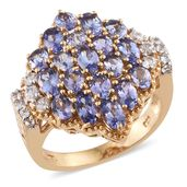 Tanzanite, Cambodian Zircon 14K YG Over Sterling Silver Ring (Size 6.0) TGW 4.94 cts.