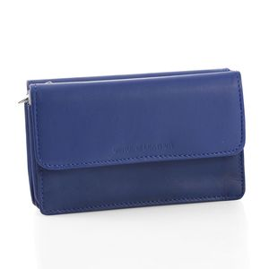 Navy Blue Genuine Leather Triple Compartment Wallet with Zipper and Magnetic Closure (6x2x3.5 in)