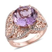 Rose De France Amethyst, Cambodian Zircon 14K RG Over Sterling Silver Ring (Size 8.0) TGW 10.21 cts.