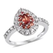 Orange Sapphire, Cambodian Zircon Platinum Over Sterling Silver Ring (Size 10.0) TGW 1.87 cts.