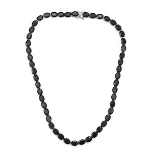 Thai Black Spinel Beads Platinum Over Sterling Silver Necklace (18 in) TGW 126.30 cts.