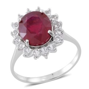 Niassa Ruby, White Topaz Sterling Silver Floral Halo Ring (Size 7.0) TGW 7.60 cts.