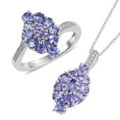Tanzanite, Cambodian Zircon Platinum Over Sterling Silver Ring (Size 10) and Pendant With Chain (20 in) TGW 3.91 cts.