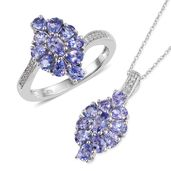 Tanzanite, Cambodian Zircon Platinum Over Sterling Silver Ring (Size 5) and Pendant With Chain (20 in) TGW 3.91 cts.