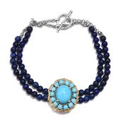 Arizona Sleeping Beauty Turquoise, Lapis Lazuli Beads Platinum Over Sterling Silver Double Strand Bracelet (7.50 In) TGW 40.66 cts.