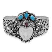 Bali Goddess Collection Carved Bone, Multi Gemstone Sterling Silver Princess Cuff (7.50 in) TGW 14.60 cts.