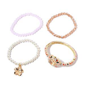 STRADA Japanese Movement Cream Enameled Bracelet Watch and Set of 3 Bracelets (Stretchable) in Goldtone