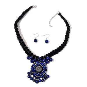 Lapis Lazuli, Drusy Quartz Stainless Steel Earrings and Necklace on Black Braided Cord (18 in) TGW 71.50 cts.