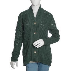 Slate Green 100% Acrylic 100% Acrylic Knitted Button-up V-Neck Cardigan (M/L)