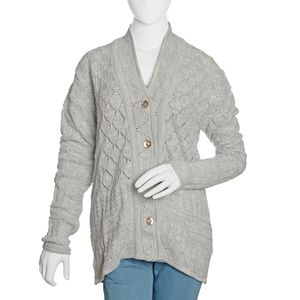 Gray 100% Acrylic Knitted Button-up V-Neck Cardigan (XL/XXL)