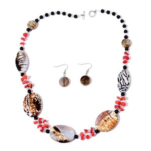 Kevin's Presidential Deal Enhanced Leopard Agate, Multi Gemstone Silvertone & Stainless Steel Earrings and Necklace (24 in) TGW 466.50 cts.