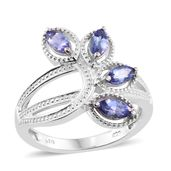 Premium AAA Tanzanite Platinum Over Sterling Silver 4 Stone Ring (Size 8.0) TGW 1.16 cts.