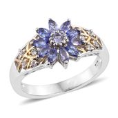 Premium AAA Tanzanite, Cambodian Zircon 14K YG and Platinum Over Sterling Silver Sunflower Ring (Size 5.0) TGW 1.49 cts.