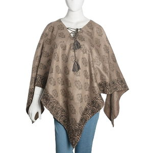 Brown 100% Acrylic Floral Spotted Scroll Pattern V-Shape Poncho with Drawstring Tassel (One Size)