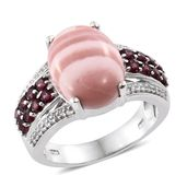 Australian Pink Opal, Orissa Rhodolite Garnet, Cambodian Zircon Platinum Over Sterling Silver Ring (Size 10.0) TGW 6.68 cts.