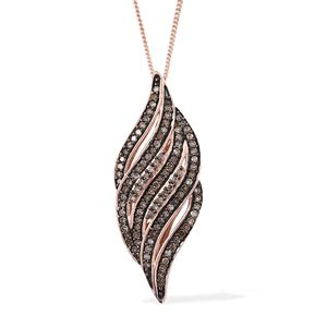 Champagne Diamond Black Rhodium & 14K RG Over Sterling Silver Pendant With Chain (20 in) TDiaWt 0.50 cts, TGW 0.50 cts.
